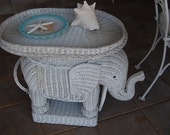 Vintage Wicker White Elephant End Table Chinoiserie- Hollywood Regency - Removable Tray at Retro Daisy Girl
