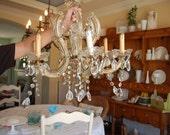 Vintage Shabby Chic Crystal Chandelier at Retro Daisy Girl