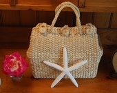 Reserved/Sold.....Vintage Woven Bag with Braided handle Beach Bag at Retro Daisy Girl