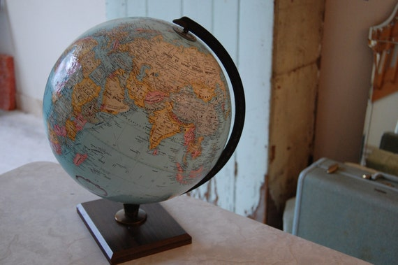 Vintage Globe on a Wooden Stand