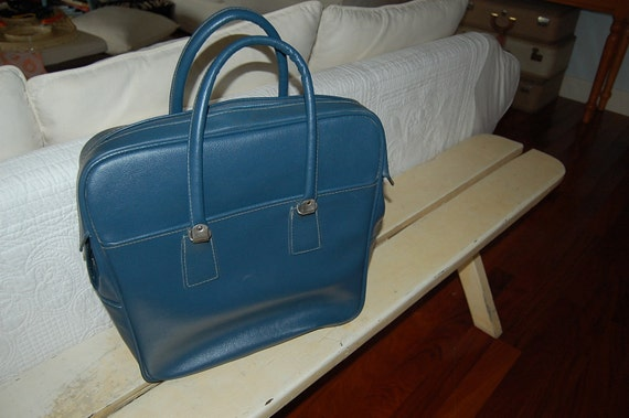 Retro Blue Carry On Bag with Handles - Retro Bag - at Retro Daisy Girl