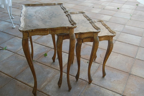 Vintage Italian Florentine Gold French Style Nesting Tables at Retro Daisy Girl