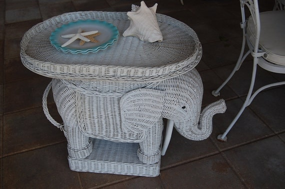 Vintage Wicker White Elephant End Table Chinoiserie Hollywood