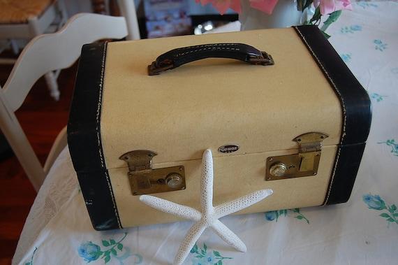 Vintage Leather Train Case Cream and Black at Retro Daisy Girl