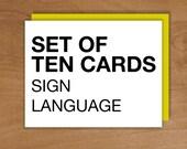 sign language set / 10 cards