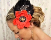 FLAMENCO FEATHER FASCINATOR red flower with black feathers, guinea feathers and jeweled center hairpiece