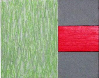 Original drawing  oil pastel green red geometric design modern abstract contemporary modernism minimal blocks