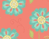 Sanibel by Heather Mulber Peterson for Henry Glass Coral Tossed Cosmo Flowers    1 yard