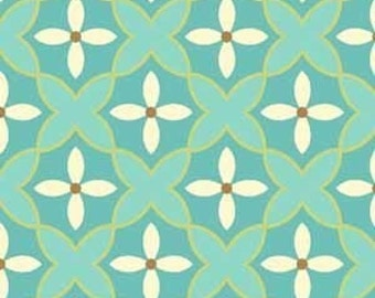 Sanibel by Heather Mulber Peterson for Henry Glass Teal Floral Mosaic   1 yard