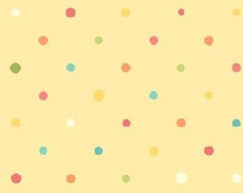 Sanibel by Heather Mulber Peterson for Henry Glass Pale Yellow Multi Dots   1 yard