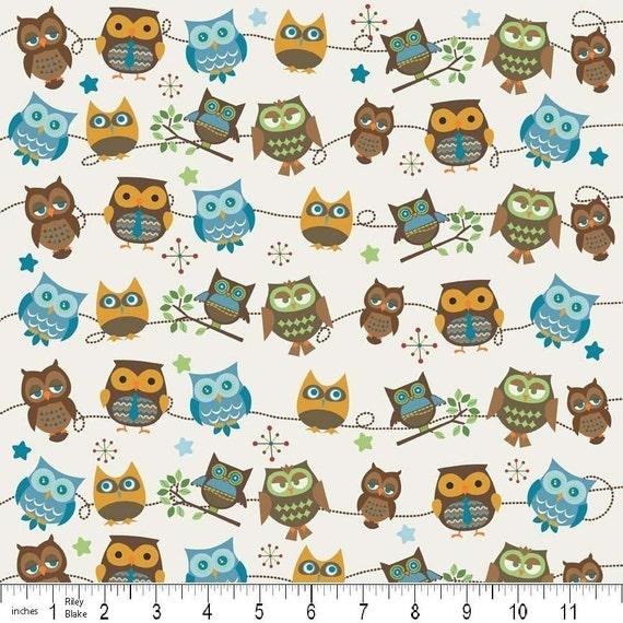 Hooty Hoot Kangaroo - Hooty Owl Roll Call in Cream by Doohikey Designs for Riley Blake  - 1 Yard