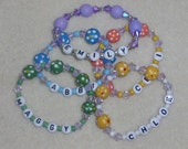 Girls Party Favor Personalized Wooden Beaded  Name Bracelets