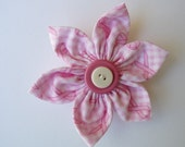 Pink Ribbon Breast Cancer Awareness Fabric Flower Pin