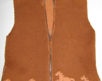 Vest with Running Horses for Women Equestrian, Knitted