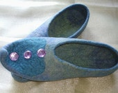 Oriental tales ...Felted slippers / Falkland wool top / Blue / Green / lavender / Turquoise / Handmade / Size Adult