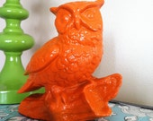 Repurposed Vintage Home Decoration, Owl Figurine in Halloween Orange