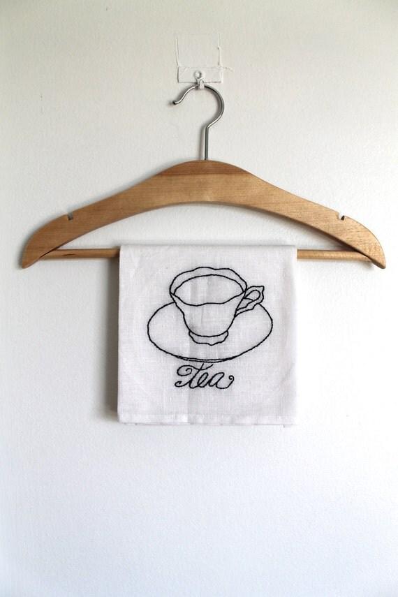 Кухня полотенце ручной вышивкой Оригинальный арт Tea Cup белой муки мешок Полотенце