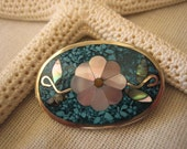 Vintage Mexican Sterling Silver Turquoise & Abalone Flower Brooch  .....545