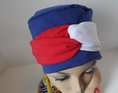 Chemo Hat Cancer Cap Soft Warm Cotton Jersey Knit Hat in Patriotic Red White and Blue Womens Turban Free Ship in USA