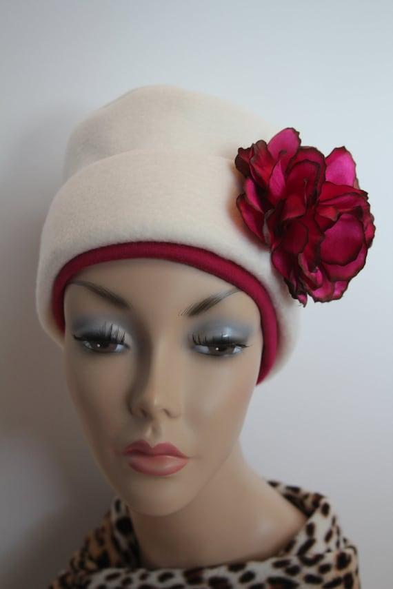 Chemo Hat Cancer Cap Soft Womens Soft Warm Polar Fleece Off White Cream Hat Beanie Winter