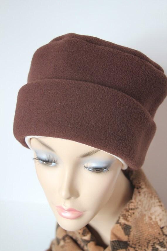 Chemo Hat Cancer Cap Womens Soft Warm Polar Fleece Chocolate Brown Beanie Winter Men