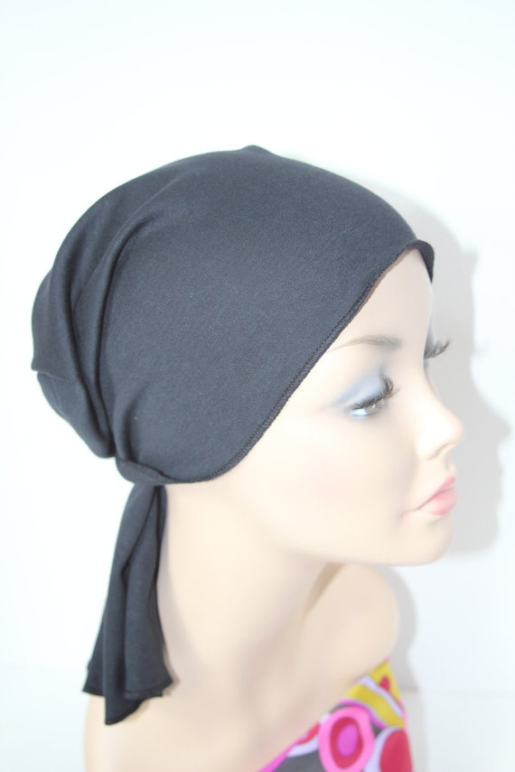 Black Chemo Hat Cancer Cap Cotton Knit Men Women Beanie Scarf