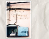 old phone photography, 8x12 print, urban wall decor, rustic, city view, urban photography, tea rose, turquise, gray, pink