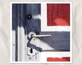 wooden doors photography, metal handle, 8x8 print, architecture detail, abstract, still life, entrance, blue, red, white, lock, handle