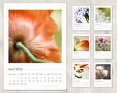 nature calendar 2012, photography, flower, blossom, 5x7, wall, desk, unbound, macro, close up, vibrant colors, warm, orange, green, khaki