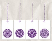 purple snowflake gift tag, set of 4, mandala, printable, diy, 8.5x11, winter, star, circle, white, warm, plum, christmas, holiday, byzantium