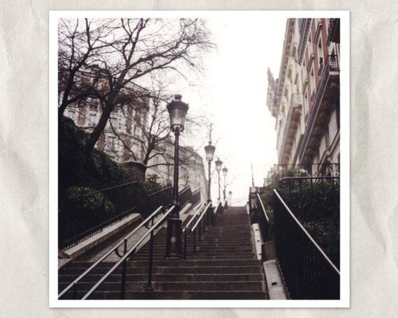 Paris photography, 5x5 print, stairs on Montmartre, stairway, french urban life, france city view, taupe, gray, sepia, autumn, french decor