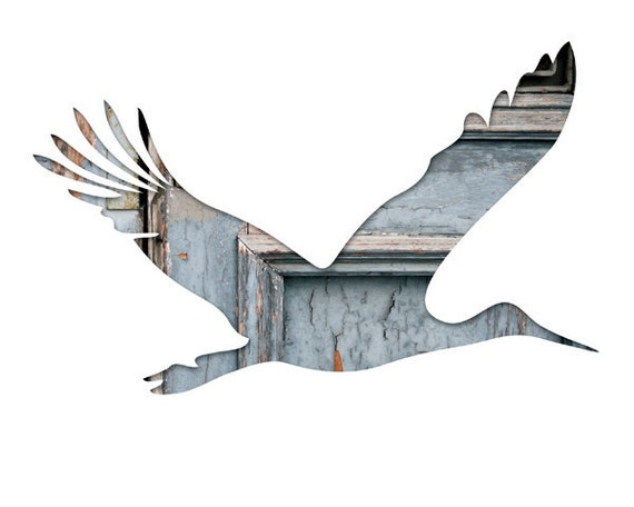 bird silhouette in blue and brick, stork abstract photography, 11x14 bird art print, architecture, gray, red, baby shower, bird wall decor