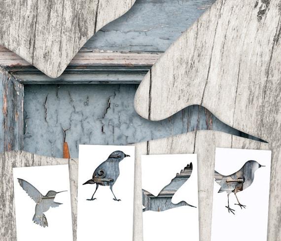 bird silhouette bookmark set, digital collage art, set of 4, library decor, whimsical animal art, woodland decor, gray blue unique bookmarks