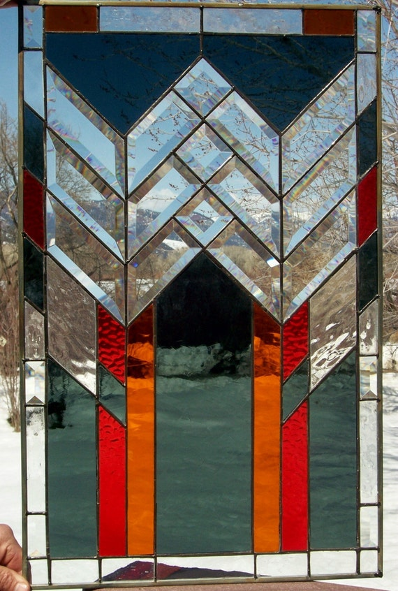Frank Lloyd Wright Style Stained Glass Window With Bevels By