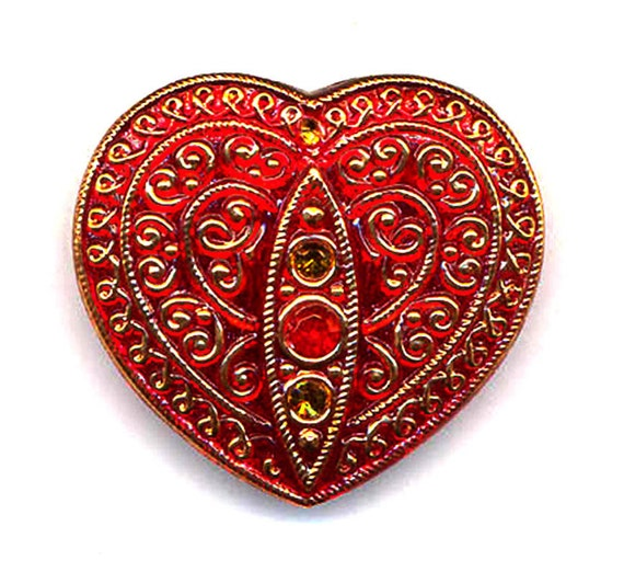 COUPON Sale Take 20% Off Treasury Item Realistic Heart Czech Ruby Glass Button Rhinestones Mirror Back