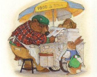 Original Art. Rabbit and Turtle Go to School, Rabbit stopped for a snack.