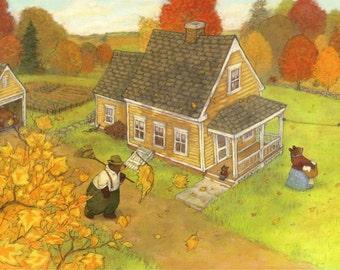 Autumn at Oliver's house. Original art.