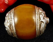 Large Tibetan Sterling Silver Repousse with Amber Resin Focal Bead