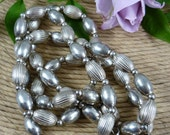 Vintage 34 Inch Sterling Silver Bead Necklace   79.2 grams