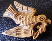 Hand Carved Olive Wood Dove of Peace Brooch