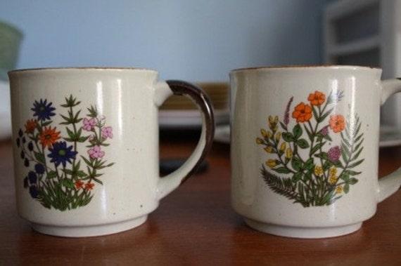 Pair of Speckled, Flower Mugs