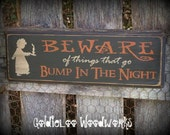 Primitive, Folk Art ,Halloween, BEWARE wall sign