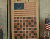 Primitive, Folk Art ,Game Boards, Old Glory Checkerboard