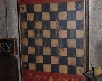Game Board,Primitive, Folk Art, Hearts & Swirls Checkerboard