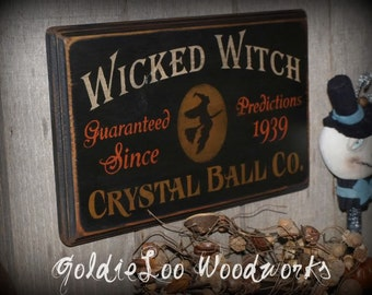 Primitive, Folk Art ,Halloween, Wicked Witch wall sign