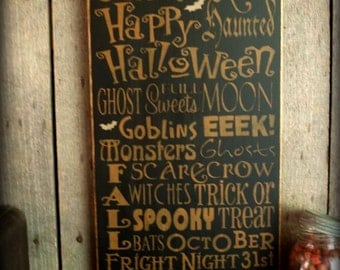 Halloween Word Art, Wood Wall Sign, Subway Art,Typography, Primitve Wall Sign