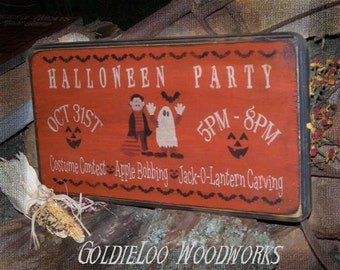 Primitive, Folk Art , Halloween Party wall sign