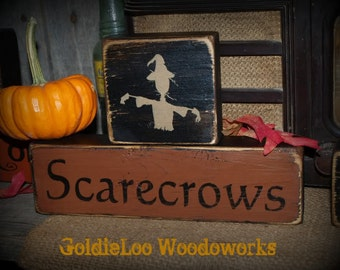 Primitive, Folk Art, Scarecrows Block Chunkies