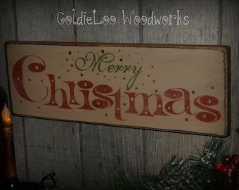 Primitive, Folk Art, Merry Christmas Sign