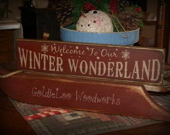 Primitive, Folk Art, Winter Wonderland, Christmas sign